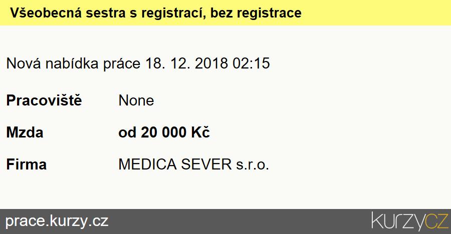 Všeobecná sestra s registrací, bez registrace, Všeobecné sestry bez specializace (kromě dětských sester)
